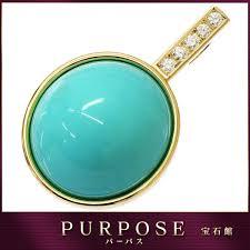 turquoise 69 66ct diamond 0 55ct k18 pendant top 18 karat gold yellow gold turquoise