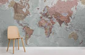classic world map maps room wall murals