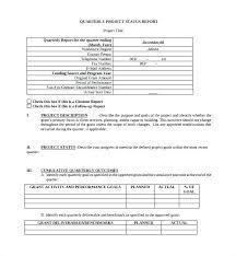 Sample Status Reports Quarterly Project Status Report