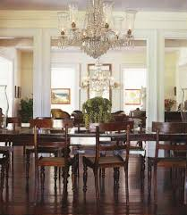 simple retro decorating idea with big chandelier also rustic wood dining set