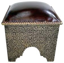 metal and brown leather ottoman footstools ottomans by design inc copley