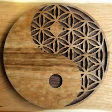 yin yang flower of life wall art image 1 on wooden yin yang wall art with yin yang flower of life wall art lasertrees