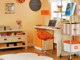 orange home office. Delighful Home Bright Orange Home Office Design In L