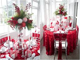 christmas table dressing ideas. Kitchen Impressive Christmas Table Decor Party Ideas Tall Vase Centerpiece Silver Candle Holder Embroidered Red Dressing U