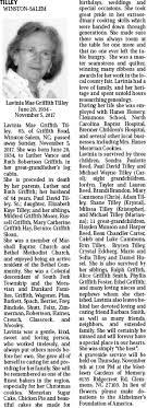 Obituary for Lavinia Mae Griffith Tilley