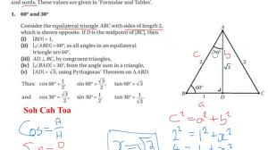 Geometry Sin Cos Tan Chart Lc Hl Trig Ratios For Sin Cos Tan 60 45 And 30 Degrees