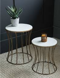 white side tables. White Marble Drum Side Table Tables B