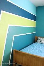 Boys Bedroom Wall With Racing Stripes