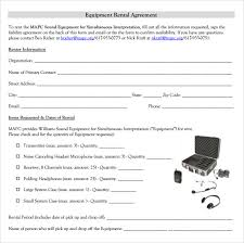Free Rental Form Sample Equipment Rental Agreement Template 14 Free Documents In