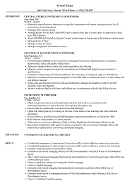 Electrical Supervisor Resume Sample Instrument Supervisor Resume Samples Velvet Jobs 11