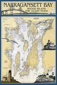 Narragansett Bay Rhode Island Nautical Chart 16x24 Giclee Gallery Print Wall Decor Travel Poster