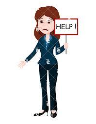 A Businesswoman Holding A Help Sign Vector Clipart Friendlystock Com