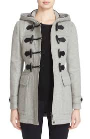 burberry blackwell wool duffle coat light grey melange