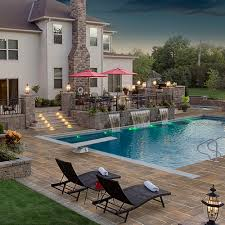 patio with pool and grill. Perfect Pool Poolscape Spa Water Feature Outdoor Kitchen And Grill Lighting And Patio With Pool Grill D