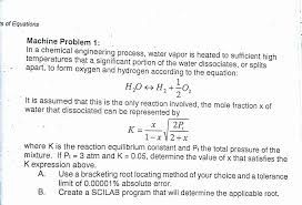 s of equations machine problem 1 in a chemical engineering process water vapor is