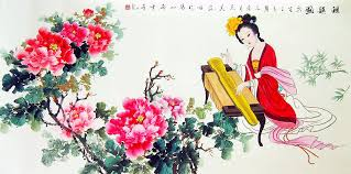 chinese flower paintings peony and beauty