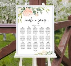 Rustic Table Chart Wedding Editable Template With Blush Flowers And Eucalyptus Greenery Printable Reception Sign Editable Templett Blg