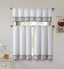 Kitchen Curtains With Rooster Designs Cotton Blend 3 Piece Kitchen Cafe Tier Window Curtain Set Rooster And Check Design