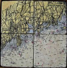 Screencraft Chart Coaster Set Stamford To South Norwalk Ct