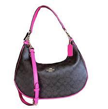 Coach Signature East West Celeste Convertible Hobo Crossbody Handbag ( Fuchsia) by Coach