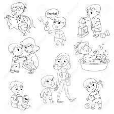 Vettoriale Set Di Attività Di Routine Quotidiana Per Bambini Dei