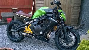 kawasaki er 6n scrambler motorbike 2013 custom build brown green