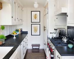 Example Of A Small Coastal Galley Dark Wood Floor Kitchen Design In Orange  County With A
