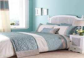 Warm And Fresh Bedroom With Duck Egg Blue And Brown Bedding