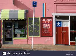 hair salon and cafe in pink building newtown wellington north island new zealand