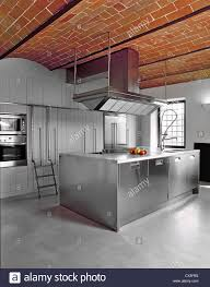 Concrete Flooring Kitchen Modern Kitchen With Concrete Floor And Bricks Vaults Stock Photo
