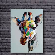 hand painted canvas oil paintings colorful giraffe for home decor animal modern oil painting on canvas unframed for kids room in painting calligraphy from