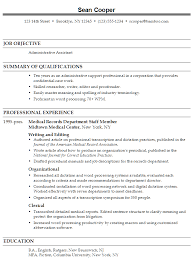 Objective For Medical Assistant Resume Resume Templates For Medical