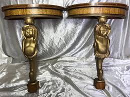 vintage french marquetry demi lune cherub console tables set of 2 for at pamono