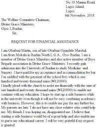 sample letters of request for assistance samples of letter of financial assistance nigeria resource hub