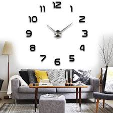 whole modern wall sticker diy large wall clock 3d mirror surface sticker home office decor decal decorative large wall clocks clock hand clock radio red