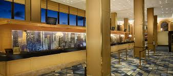 hilton chicago o hare airport il hotel main lobby and front desk