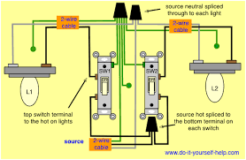 light switch wiring diagrams do it yourself help com Dual Switch Wiring Diagram two switches control two lights dual battery switch wiring diagram