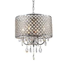 mirrea crystal chandelier pendant light 4 lights with crystal beaded drum shade chromed finish