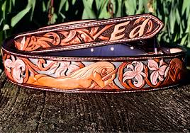 custom leather belt hand carved las and iris fl with blue filigree classy belt