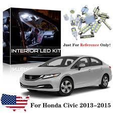2015 Honda Civic Led Interior Lights 6x White Led Interior Lights Bulbs Package Kit For 2013 2014 2015 Honda Civic