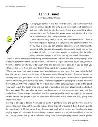 Comprehension Worksheet - Tennis Time