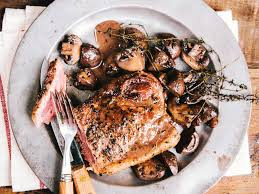 cooked steak with white background. Brilliant Cooked Pan Seared New York Steak With Mushrooms With Cooked White Background E