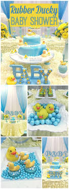 What a fun blue and yellow rubber ducky baby shower! See more party ideas at
