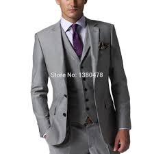 Mens Light Grey Wedding Suits Us 99 99 Custom Made Mens Light Grey Suits Jacket Pants Formal Dress Men Suit Set Men Wedding Suits Groom Tuxedos Jacket Pants Vest Tie In Suits