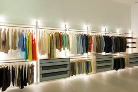 home interior simple man walk in closet with ring and iron hold and led closet