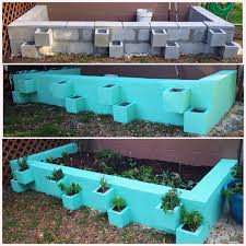 Small Picture DIY cinder block raised vegetable garden bed Separate herbs from