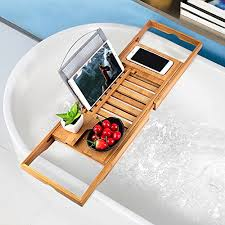 bathtub tray oobest bamboo bathtub caddy tray with extending sides adjule book holder with premium luxury