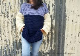Crochet Oversized Sweater Pattern Inspiration Oversized Color Block Crochet Sweater Pattern Hooked On Homemade