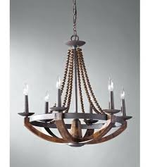 wood and iron chandelier 6 light inch rustic burnished world market gray valencia chandeliers