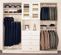 white closet organizer with hanging clothes and 4 drawers for home decoration ideas